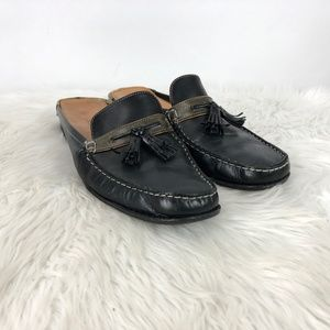 Cole Haan Black Leather Slip-on Tassel Loafer Flat